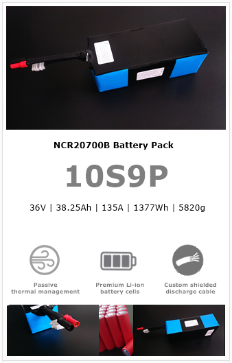 10S9P NCR20700B UAV/drone battery pack