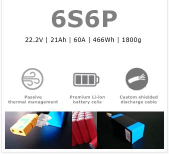6S6P NCR18650GA UAV/drone battery pack