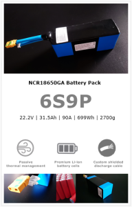 6S9P NCR18650GA UAV/drone battery pack